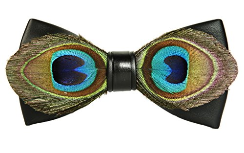 Cloud Rack Handmade Retro Peacock Feather Pu Leather - Retro Bow Ties