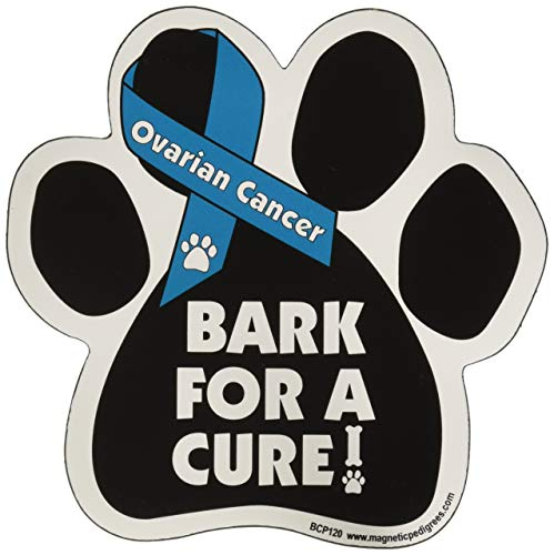 Bark For A Cure Ovarian Cancer Paw Support Ribbon Car Truck & Mailbox Magnet by Magnetic Pedigrees