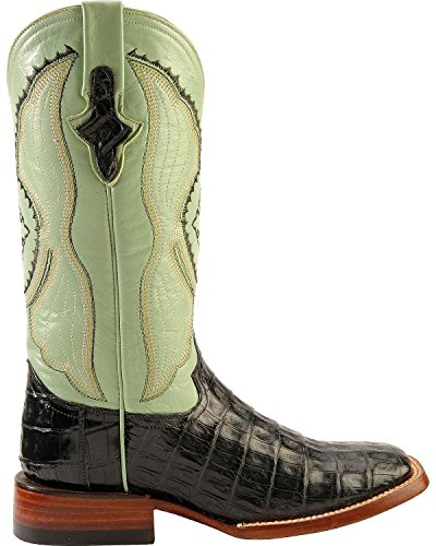 Ferrini Ladies Belly Caiman Croc Sq Toe Nero
