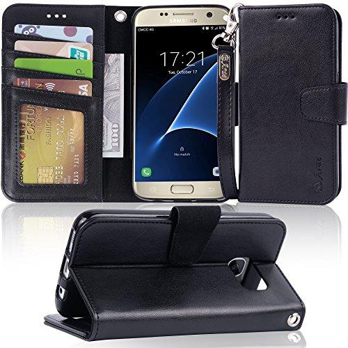 Galaxy s7 Case, Arae [Wrist Strap] Flip Folio [Kickstand Feature] PU Leather Wallet case ID&Credit Card Pockets Samsung Galaxy S7 (Black) by Arae
