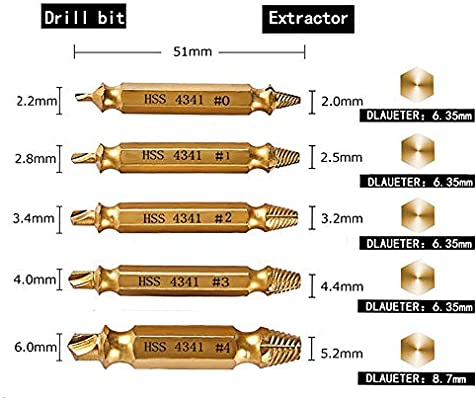 Jimdary Hex Bit Set Bolt Extractor Tool 2.0-6.0mm Tip Slotted Electric Drills Electric Screwdrivers Air Drills Hand Screwdrivers for Replacing Old Parts Replair