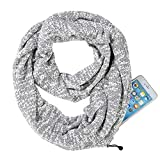 Infinity Scarf With Zipper Secret Pocket For Women Girls - Extreme Soft Stretchy Travel Scarves (Grey+White)
