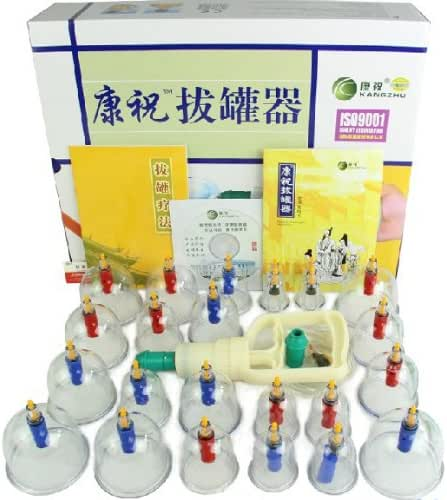 Healthy Care 24-Cups Biomagnetic Chinese Cupping Therapy Set Traditional Chinese Massage Medical Cupping Set Suction Acupuncture 1set