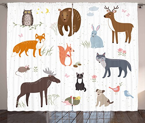 Cabin Decor Curtains by Ambesonne, Cute Animals in Spring Meadow Childish Woodland Fauna Kids Baby Room Nursery, Living Room Bedroom Window Drapes 2 Panel Set, 108 W X 63 L Inches, Multicolor - Bedroom Cabin