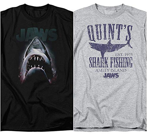 bd3b014ed Trevco Official 2 Pack Combo Jaws Movie & Quints Classic Retro Vintage  Men's Adult Graphic T