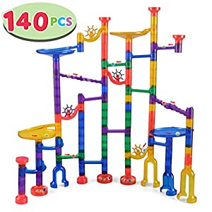 JOYIN 140 Pcs Marble Run Premium Set, Construction Building Blocks Toys, STEM Learning Toy, Educational Building Block Toy