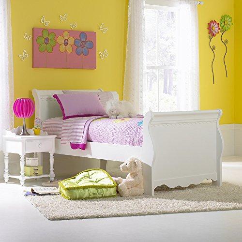 Hillsdale Furniture 1528BTWSR Lauren Sleigh Bed Set with Rails, Twin, White (Hillsdale Bed Sleigh Set)