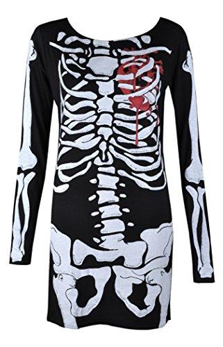 Womens Ladies Halloween Skeleton Skull Bone Red Blood