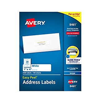 Avery Mailing Address Labels, Inkjet Printers, 2,000 Labels, 1 x 4, Permanent Adhesive (8461)