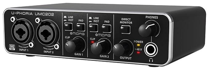Behringer U-PHORIA UMC202 - Interfaz de audio, color negro