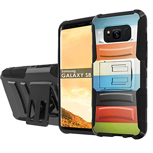 - Samsung Galaxy S8 Phone Case [NakedShield] [Black/Black] Defender Combat Armor Case [KickStand] [Holster] [Screen Protector] - [Color Bars] for Samsung Galaxy [S8]