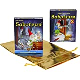 "Saboteur Card Game _ with ""Saboteur 2"" Expansion Deck _ Bonus Gold Metallic Drawstring Storage Pouch"