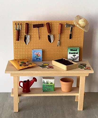 Miniature Dollhouse Furniture Decorated Garden Wood Potting Table ()