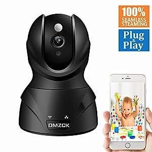 DMZOK WiFi Camera, Wireless Security Camera, Nanny Cam, WiFi IP Camera (Black 720P)