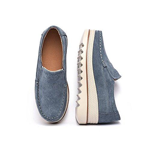 Sneakers Piattaforma Donna Sunrolan Slip On Mocassini Comfort Mocassini Scamosciati Larghi Scarpe Basse A Tacco Alto Grigie