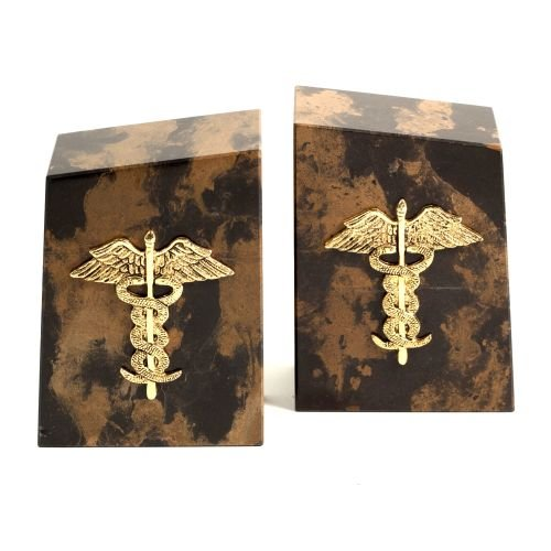 Bey-Berk R11M Tiger Eye Marble Bookends with Gold Plated Medical Emblem. ()