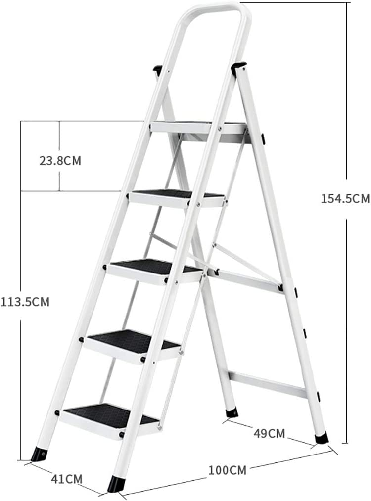 /échelle t/élescopique Marchepied pliant poi escabeau /échelle multi-usages for bureaux de bureaux /à domicile /échelle portative en acier /à 5 marches jardin antid/érapant /Échelle pliante domestique
