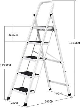 Escaleras Escalera plegable for el hogar, Escalera de tijera, Escalera portátil de acero de 5 pasos, Escalera telescópica, Oficina de usos múltiples, Loft, Escalera de tijera, Antideslizante, Peso lig: Amazon.es: Bricolaje y
