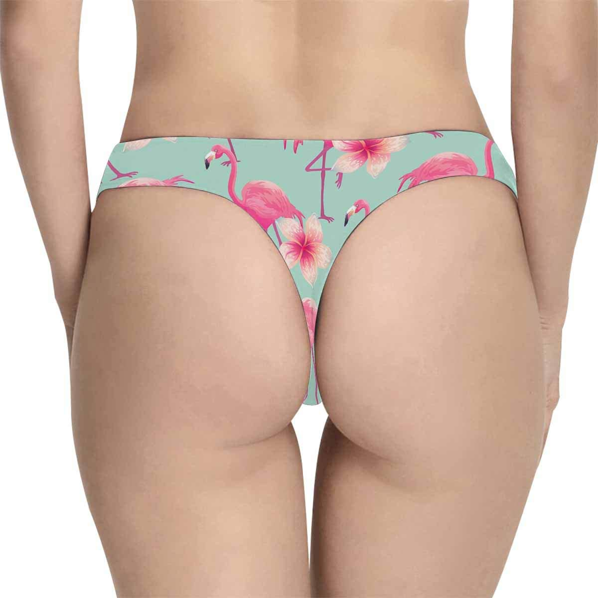 InterestPrint Womens Thong Underwear Stretchy Panties Tropical Pattern with Pink Flamingo and Flowers