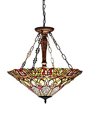 Chloe Lighting CH33444GV24-UH3 Tiffany CASSANDRA, Tiffany-style Victorian 3 Light Inverted Ceiling Pendant Fixture 22-Inch Shade, Multi-colored