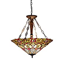 Chloe Lighting CH33444GV24-UH3 Cassandra, Tiffany-Style Victorian 3 Light Inverted Ceiling Pendant Fixture 22-Inch Shade, Multi-Colored