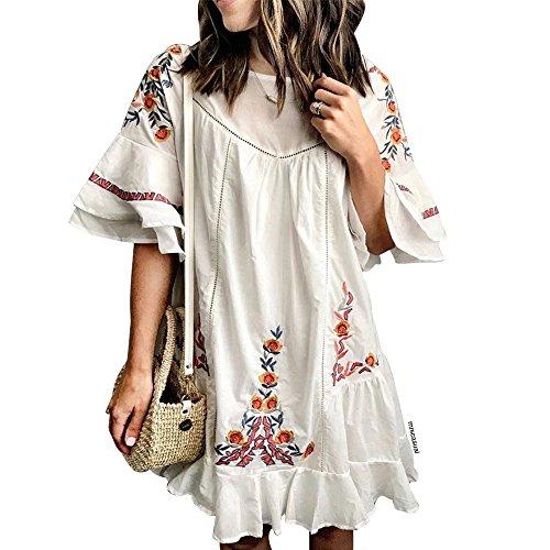 Chicwish Women's Boho Eyelet Floral Embroidered White Ruffle Dress