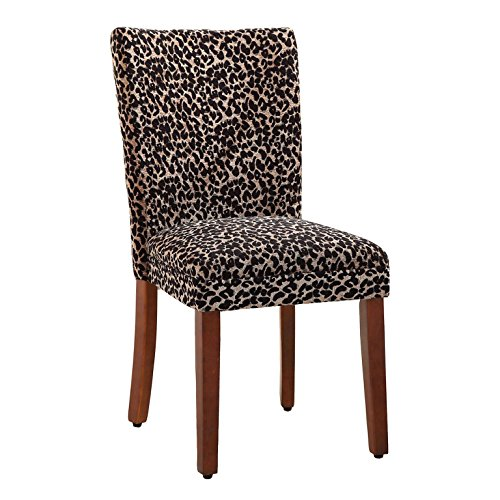 Pecan Upholstered Chair - HomePop Parsons Upholstered Accent Dining Chair, Set of 2, Lepord Print