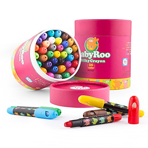 Jar Melo Silky Crayons-36 Colors Washable Rotating Non-Toxic 3 In 1 Effect(Crayon-Pastel-Watercolor); Coloring Gift for Kids; Art Tools; Twistable Slick Crayons; Big Size; (Wall Bath No Color)