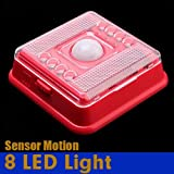 Red Auto 8 LED Light PIR Sensor Motion Detector Wireless Infrared Indoor by 24/7 store
