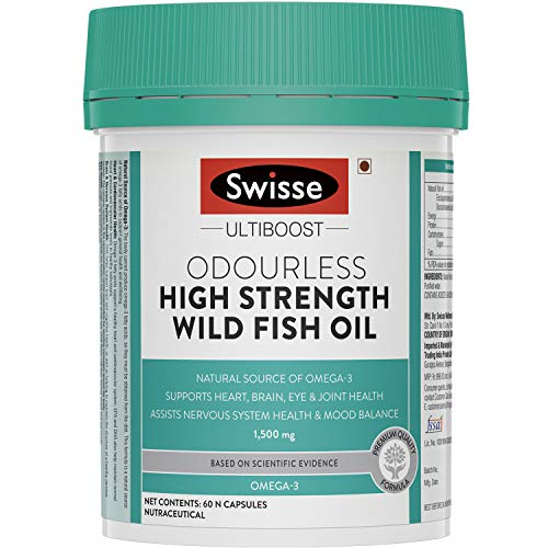 Swisse Ultiboost Odourless High Strength Wild Fish Oil with (1500 mg) Omega 3 for Heart, Brain, Joints and Eyes – 60 Capsules