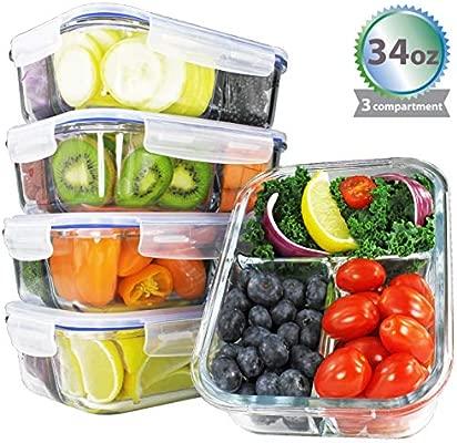 Cristal comida Prep recipientes 3 compartimento - Contenedor ...
