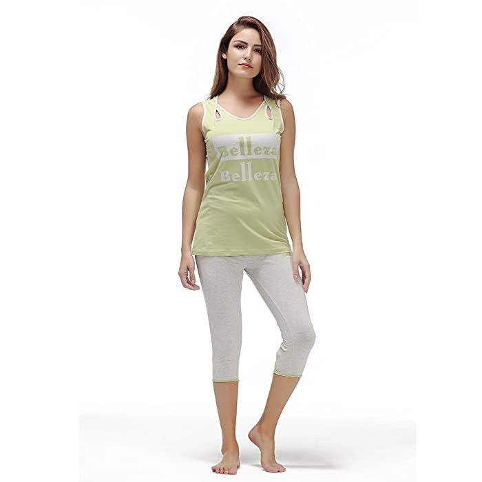 6700d5eff3f3 Yusano Women Pajama Sets Cotton Capris Nightwear Sleeveless Tank Top ...