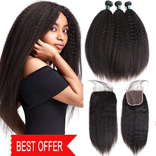 - JiaYang Brazilian Kinky Straight Human Hair Bundles With Free Part 4X4 Lace Closure Yaki Human Hair Weave Unprocessed Brazilian Virgin Hair Natural Color (10'' 12'' 14''+10Closure)