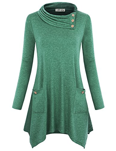 Long Embellished (Finice Trapeze Tops, Womens Button Embellished Cowl Neck Pullover Tunic Blouse Long Full Sleeve A-line Asymmetrical Hem Comfy Soft Stretchy Varsity Sweater Shirt with Pockets Dark Green XL)