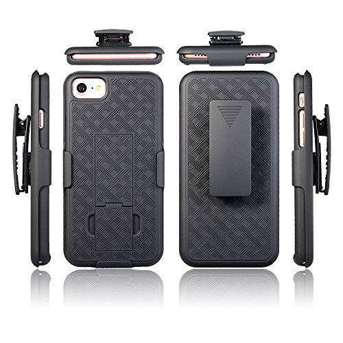 iPhone 8 iPhone 7 Holster Case, Swivel Slim Belt Clip Holster Armor Case, Defender Cover with Swivel Locking Belt Clip [Kickstand Feature] Microseven Compatible with iPhone 7 8 4.7 inch (Wave Holster)