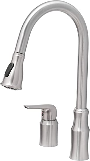 Kitchen Sink Faucet With Pull Down Sprayer Fyrlleu Commercial Single Handle Kitchen Faucets 2 Hole For Kitchen Laundry Bar Big Farmhouse Outdoor Utility Garage Sinks Brushed Nickel