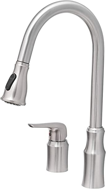 Kitchen Sink Faucet With Pull Down Sprayer Fyrlleu Commercial Single Handle Kitchen Faucets 2 Hole For Kitchen Laundry Bar Big Farmhouse Outdoor Utility Garage Sinks Brushed Nickel Amazon Com