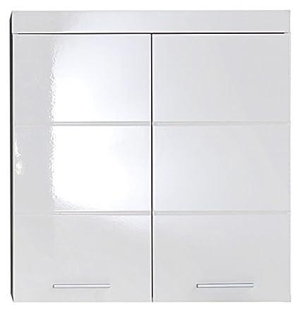 trendteam smart living Badezimmer Hängeschrank Wandschrank Amanda, 73 x 77  x 23 cm in Weiß / Weich Hochglanz mit viel Stauraum