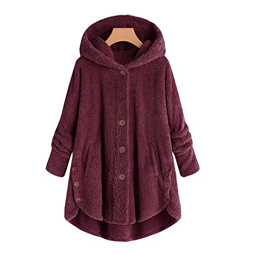 ANJUNIE Long Sleeve Overcoat Women Button Coat Fluffy Tail Tops Hooded Pullover Loose Parkas(1-Wine,XXXL)