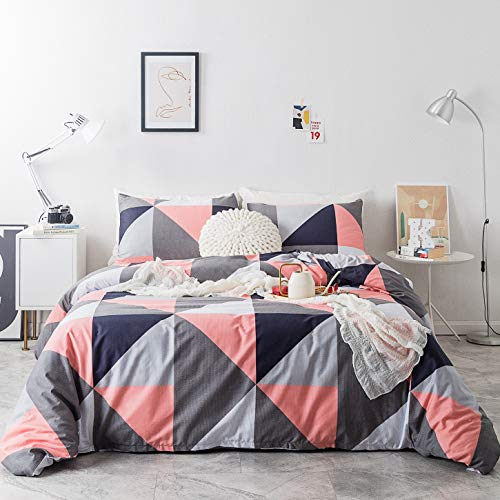 SUSYBAO 3 Piece Duvet Cover Set Queen Size 100% Natural Cotton Pink and Gray Triangle Bedding Set 1 Geometric Duvet Cover with Zipper Ties 2 Pillow Cases Hotel Quality Soft Breathable Lightweight Warm (Navy Blush Bedding And)