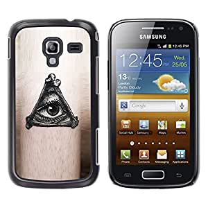 FlareStar Colour Printing Mysterious Eye Black Ink Free Mason cáscara Funda Case Caso de plástico para Samsung Galaxy Ace 2 i8160 / Ace2 II XS7560M