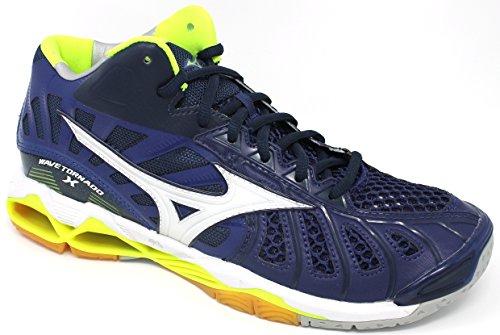 Mizuno Wave Tornado Mid, Zapatos de Voleibol para Hombre Multicolor (Bluedepths/white/safetyyellow)