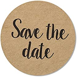 "80-Pack, 2"" Kraft Save The Date Stickers, Rustic Save The Date Labels, Envelope Seals"
