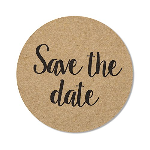 "80-pack, 2"" kraft save the date stickers, rustic save the date labels, envelope seals -"