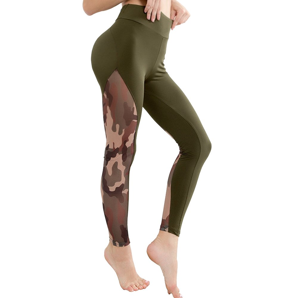 Meet Nice Womens Sport Yoga Pants Stretchy Skinny High Waisted Ruched Butt Lifting Long Workout Leggings (S, Army Green)