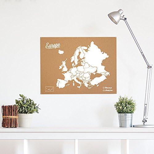 Miss Wood Mapa de Europa de Corcho, Pino, Blanco, L-45x60CM: Amazon.es: Hogar
