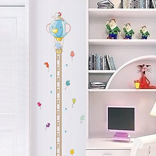 Pegatina pared puertas medidor altura ni/ños vinilo decorativo elefante y globo de aire para cuartos bebes ni/ños juegos guarderias colegios de CHIPYHOME