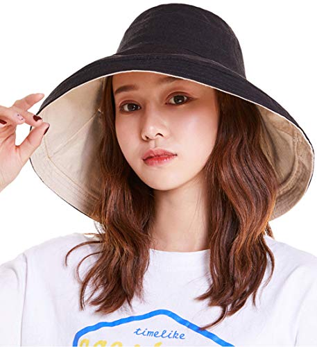 - Maylisacc Safari Hats for Women, Wide-Brimmed UV Sun Hat Packable Two-Sided Cotton & Linen Black