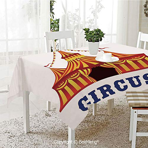BeeMeng Large dustproof Waterproof Tablecloth,Family Table Decoration,Circus Decor,Illustration of Old Striped Tent in Retro Style Old Fashion Joy Theater Art Work,Red Yellow White,70 x 104 inches
