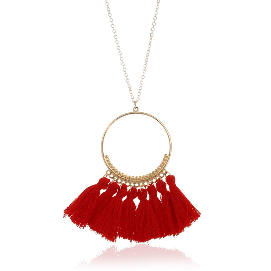 lehao Vintage Bohemian Tassel Pendant Necklace Thread Fringe Long Necklaces Pendants Charm Jewelry For Women,Red